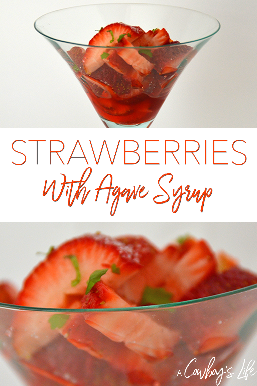 Strawberries with agave syrup