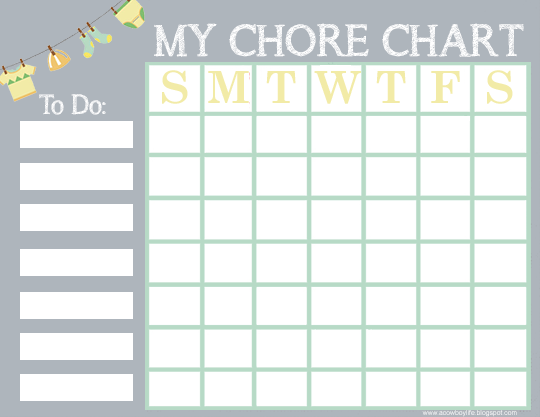 picture relating to Chore Chart Printable Free titled Free of charge Printable Chore Chart for Children - A Cowboys Existence