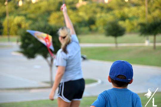 family flies a kite