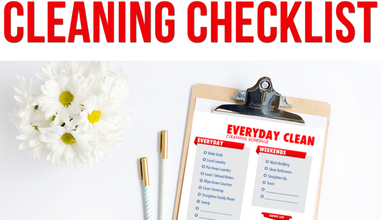 Here's a everyday cleaning checklist you can use to clean up your messy house by using this free printable housekeeping printable.