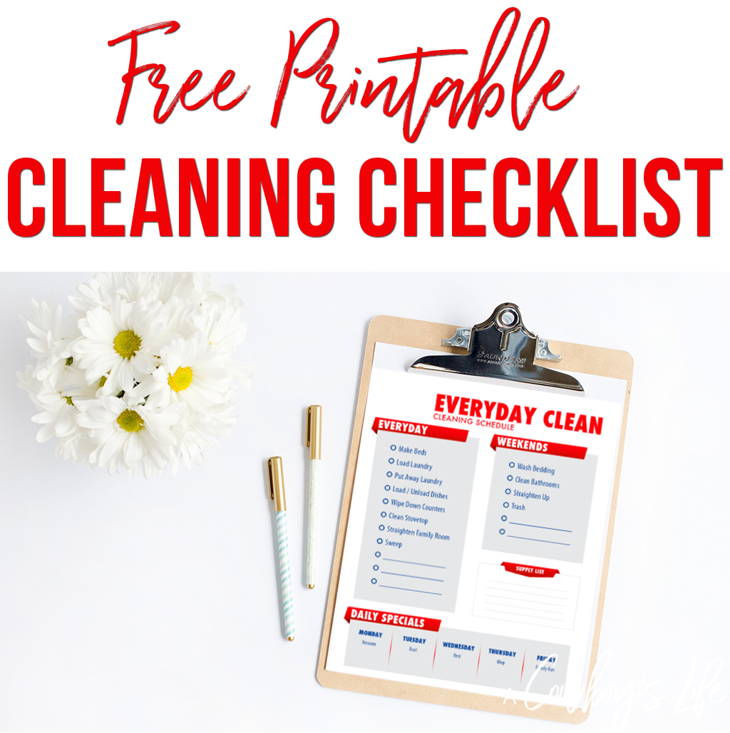 Here's a everyday cleaning checklist you can use to clean up your messy house by using this free printable housekeeping printbale.