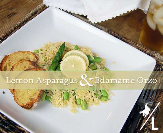Lemon Asparagus & Edamame Orzo