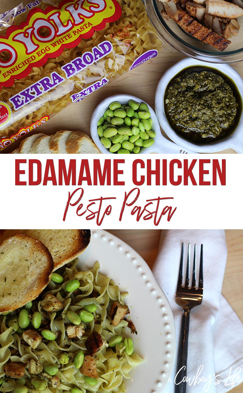 Edamame Chicken Pesto Pasta #pastadinner #pasta #easydinner