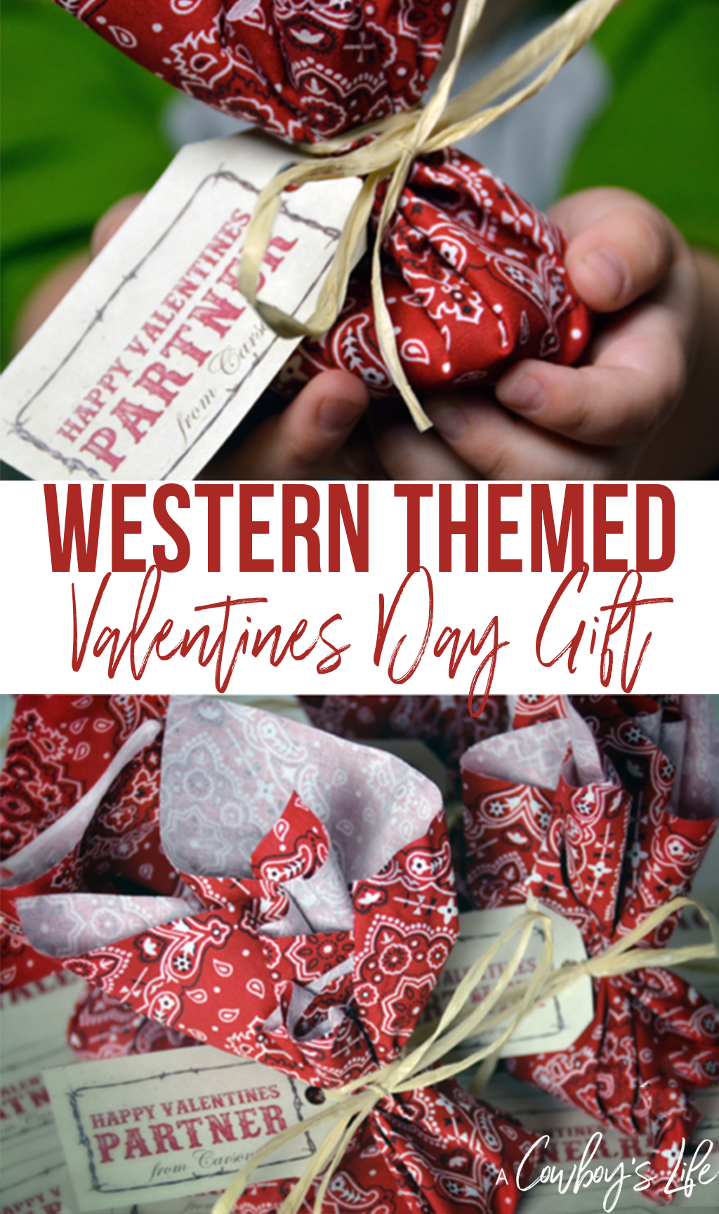 This adorable western valentine is the perfect gift for your little cowboy or cowgirl! It's inexpensive and can also work with any plain fabric you already have on hand.