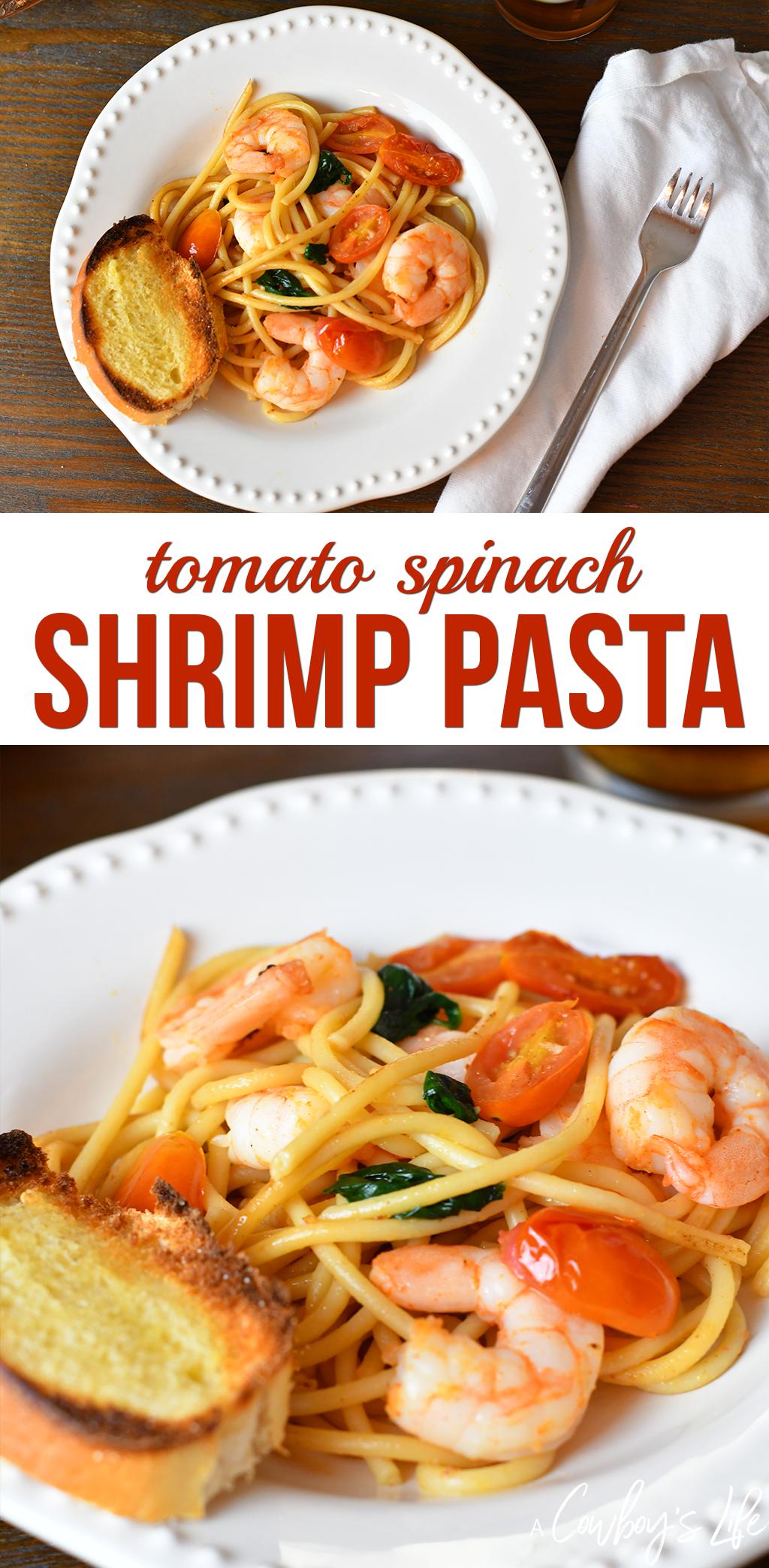 tomato spinach shrimp pasta