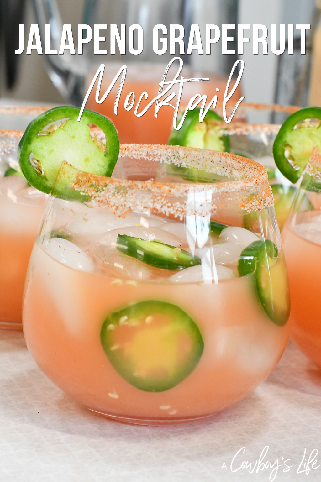 This Jalapeño Grapefruit mocktail is a fantastic way to spice up the party.