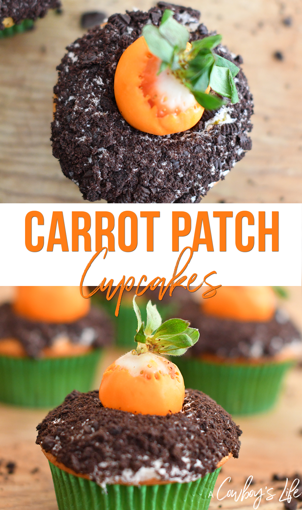 These carrot patch cupcakes are a fun spring dessert! #easter #easterdessert #cupcakes