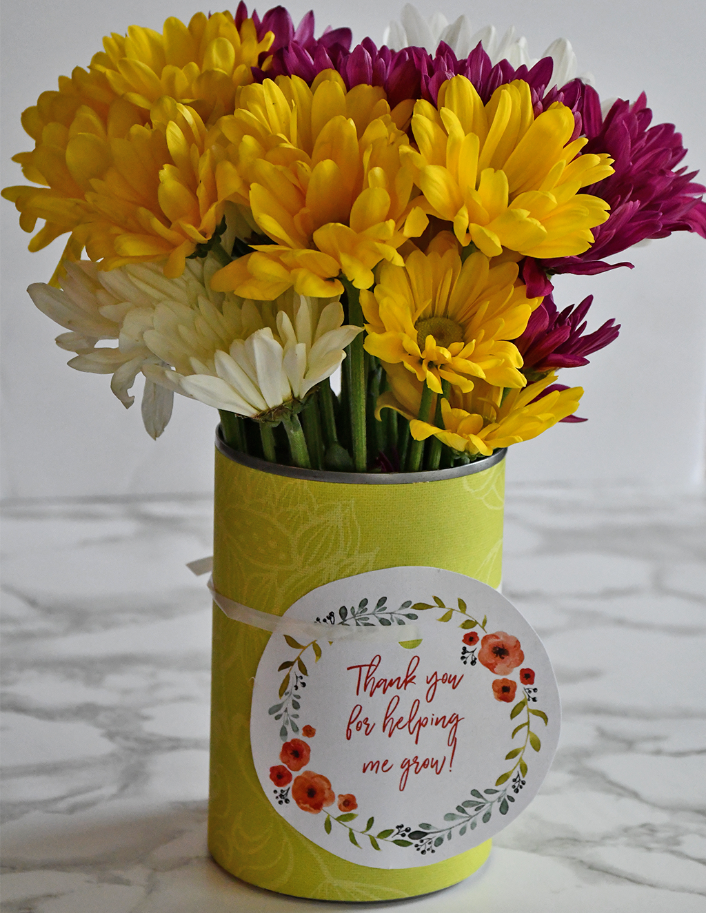 DIY Tin Can Vase + Teacher Appreciation Printable Tag