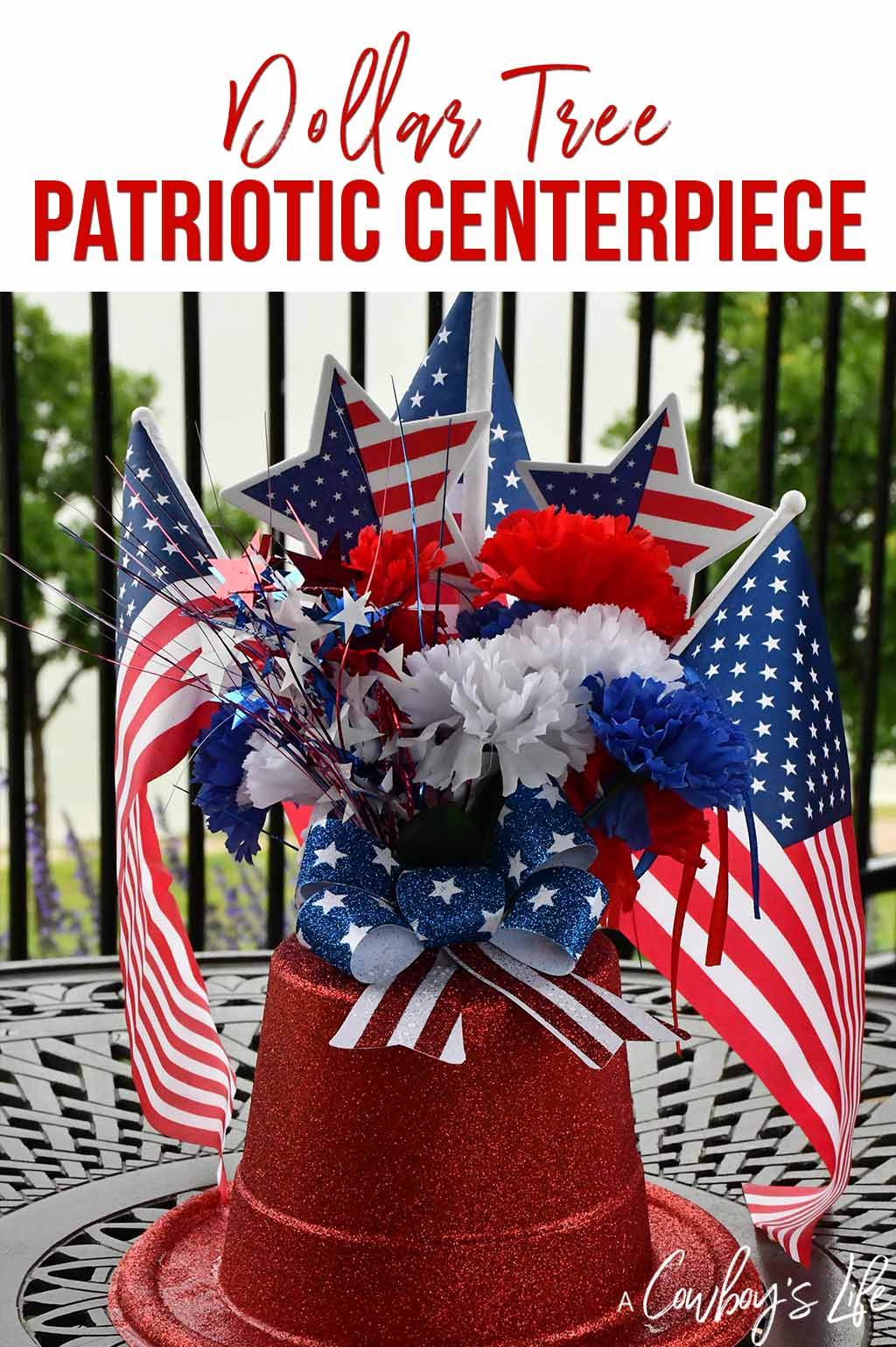 Dollar Tree Patriotic Centerpiece | 4th of July | 4th of July crafts | Independence Day | Patriotic Crafts #4thofJuly #festivecrafts #homecrafts