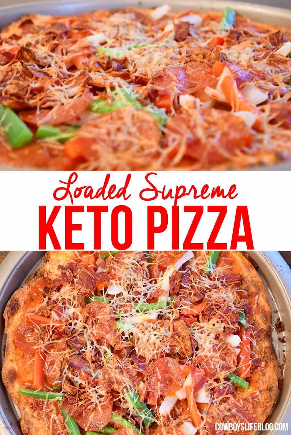 Supreme Keto Pizza with Fathead Pizza Crust