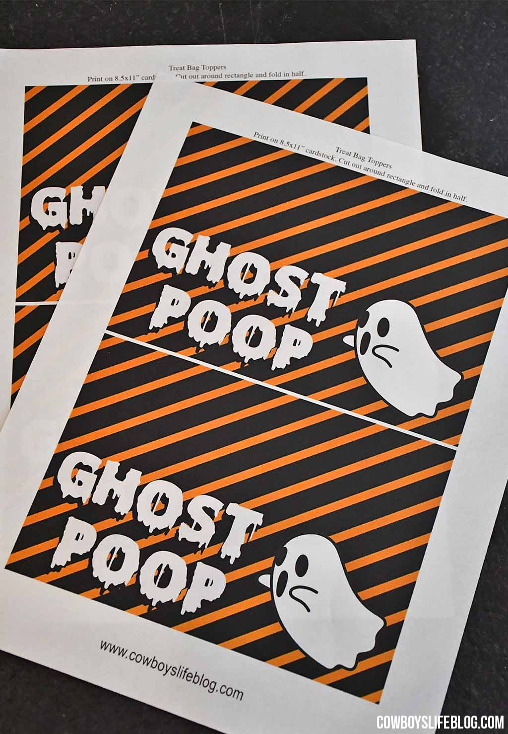 GHOST POOP TREAT BAG TOPPER WITH FREE PRINTABLE