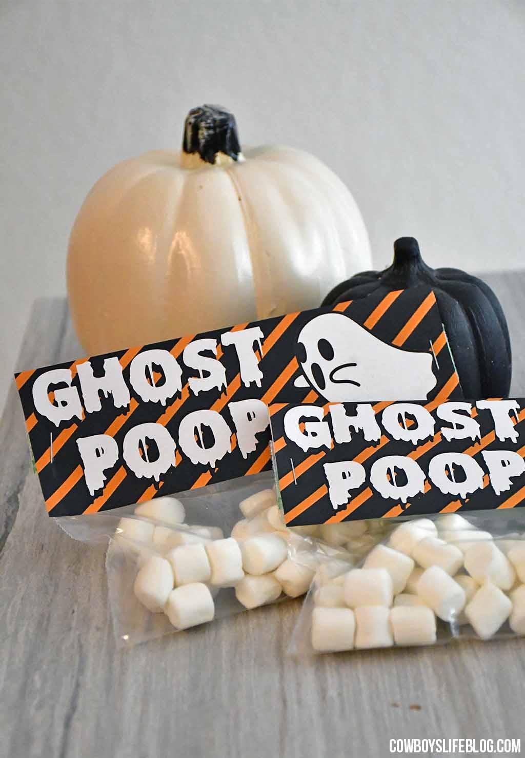 Ghost Poop Treat Bag Topper