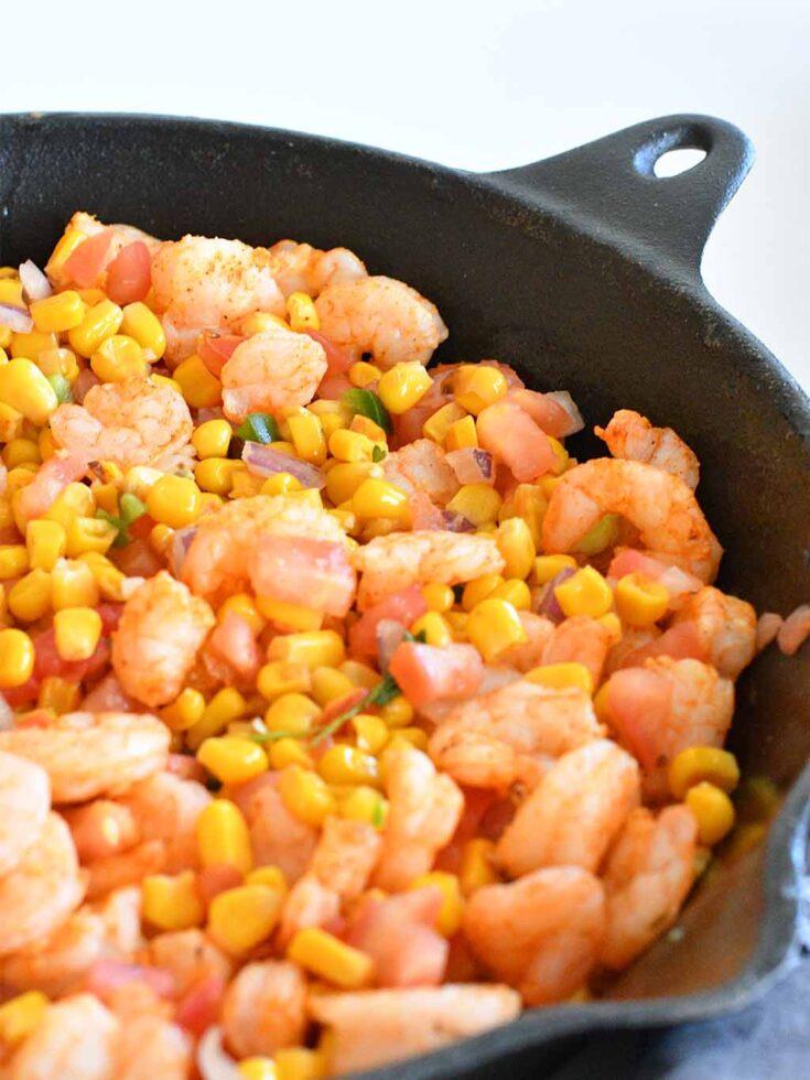Mexican roasted shrimp with corn salsa